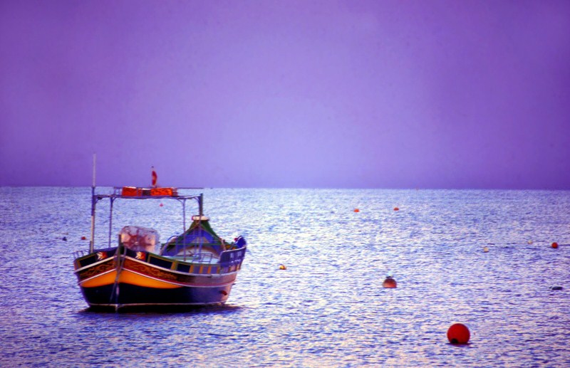 Traditional Maltese Boat - Luzzu at sunset