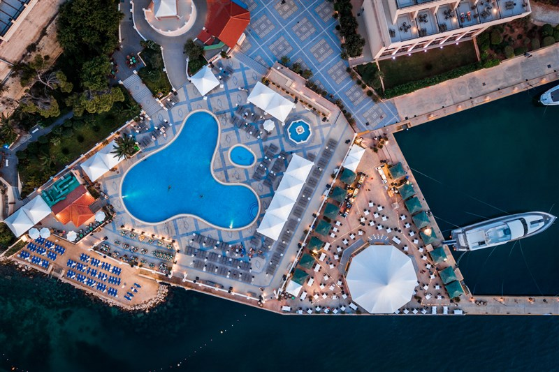 Excelsior Hotel Pool and Beach Aerial View