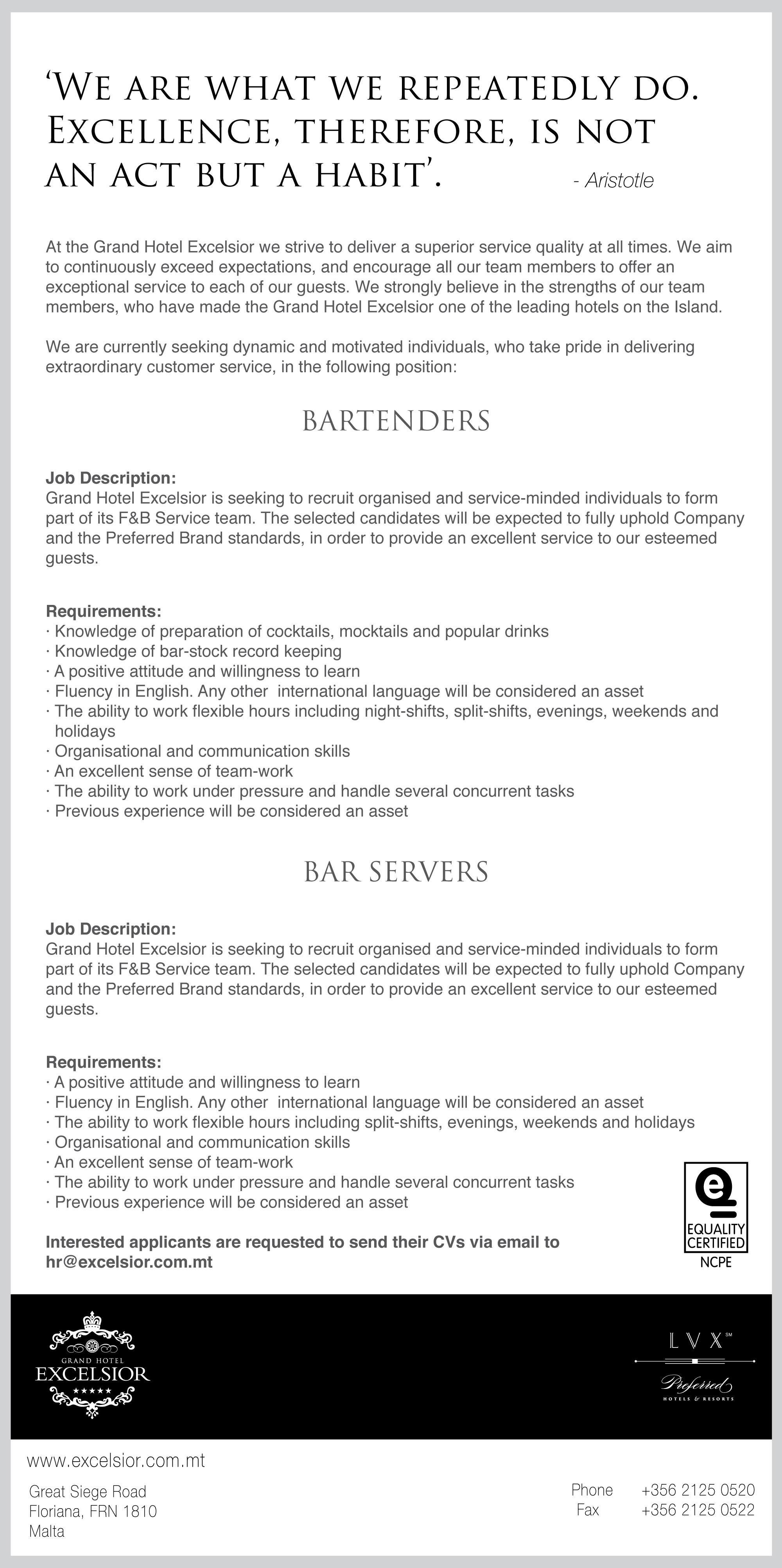 Housekeeping Supervisor General Maintenance Restaurant Host Food Beverage Servers Banqueting Shift Technician