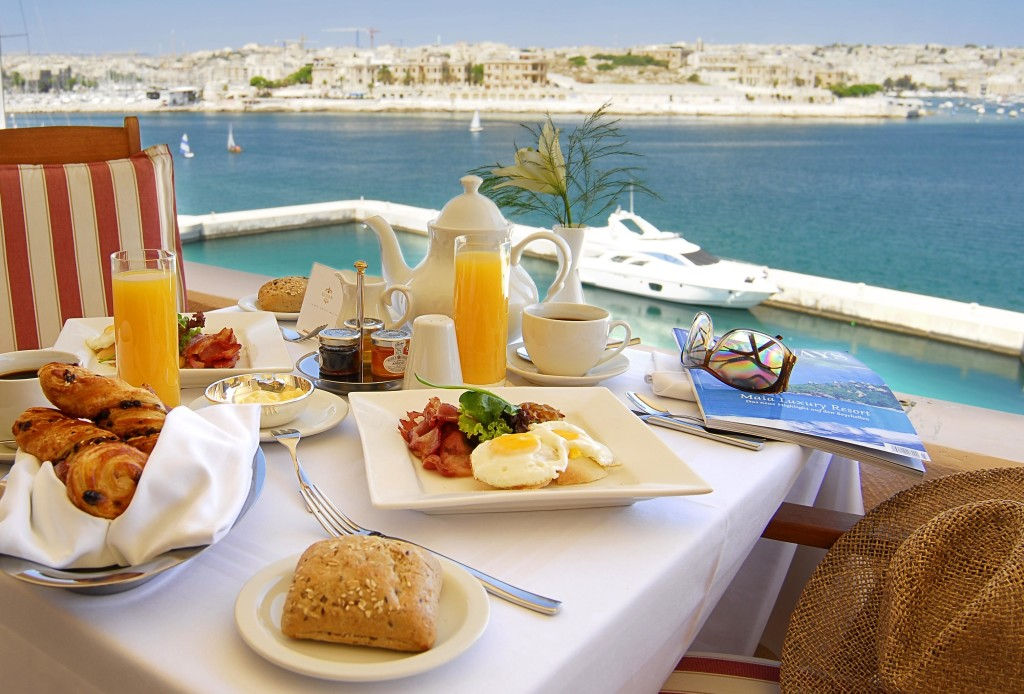 Harbour view at Room Service Breakfast Malta
