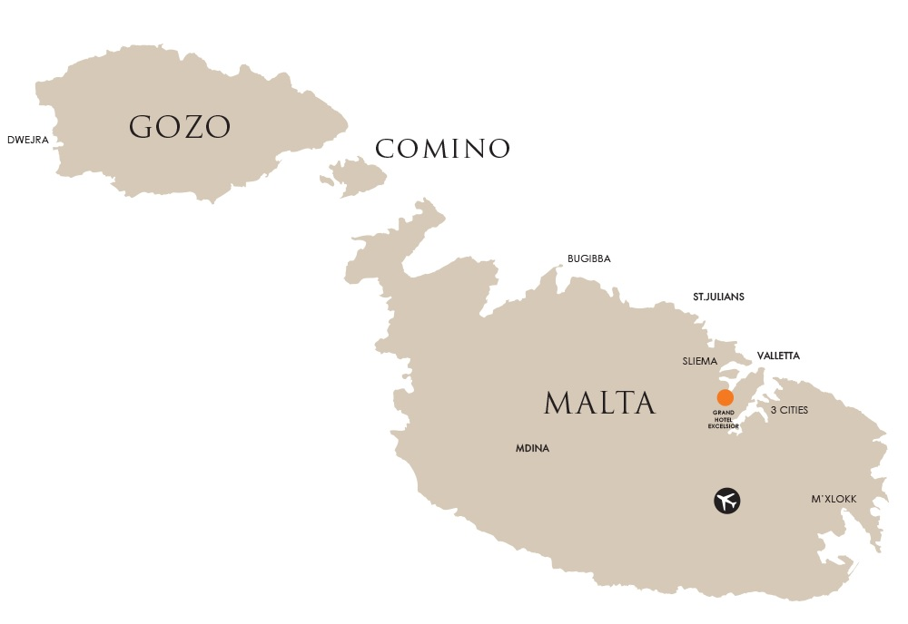 Map of Malta and Grand Hotel Excelsior